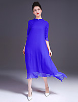 ZIYI Casual/Daily Simple Swing DressSolid Stand Maxi  Length Sleeve Others Blue Red Spring Summer Mid Rise Inelastic