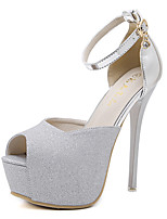 Heels Spring Club Shoes PU Dress Stiletto Heel Buckle Silver Gold