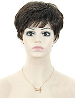 European Style Black Lady Short Curls High Temperature Wire Wig 3inch