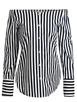 Women's Casual/Daily Street chic Spring Fall Shirt,Striped Boat Neck Long Sleeve Black Cotton Medium