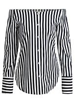 Women's Casual/Daily Street chic Spring Fall Shirt,Striped Boat Neck Long Sleeve Black Cotton Medium