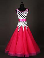 Shall We Ballroom Dance Dresses Women Performance Chinlon Organza Polka Dots 1 Piece Sleeveless Dress