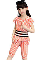 Girls' Casual/Daily Beach Holiday Striped Print Sets,Cotton Summer Short Sleeve Clothing Set