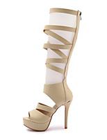 Feminino-Botas-Conforto Gladiador Sapatos clube-Salto Agulha-Branco Preto Bege-Couro Ecológico-Social Casual Festas & Noite