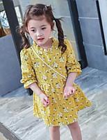 Girl's Print Dress,Cotton Summer Spring Fall Long Sleeve