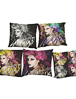 Set of 5 Lady gaga  Linen Pillowcase Sofa Home Decor Cushion Cover (18*18inch)