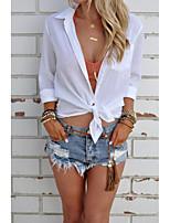 Feminino Camisa Social Casual Formal Simples Fofo Primavera Verão,Sólido Algodão Colarinho de Camisa Manga Longa