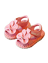 Baby Flats Summer Comfort Leatherette Outdoor Casual Flat Heel Magic Tape White Pink Walking