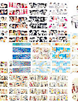 1set 60pcs Mixed Water Transfer Decals Beautiful Lady Lovely Shell Paris Tower Design Nail Art Watermark Sticker Nail Beauty Decoration BN121-180