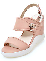Women's Sandals Spring Summer Fall Club Shoes Leatherette Outdoor Dress Casual Wedge Heel Buckle Split Joint