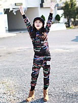 Jazz Outfits Kid's For Boys For Girls Children's Performance Cotton Pattern/Print Splicing 2 Pieces Long Sleeve Natural Coat Pants Dance Costume