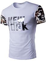 Tee-shirt Homme,Imprimé Lettre Décontracté / Quotidien Grandes Tailles simple Actif Eté Manches Courtes Col Arrondi Coton Rayonne Fin