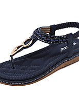Sandalen-Kleid Lässig-PU-Flacher Absatz-Leuchtende Sohlen-Blau Mandelfarben