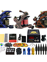 Complete Tattoo Kit 3 Pro Machine Power Supply Foot Pedal Needles GripsTK353