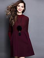 Trapèze Robe Femme Sortie Mignon,Couleur Pleine Col Arrondi Au dessus du genou Manches Longues Rose Rouge Noir Gris Vert Polyester