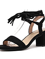 Women's Sandals Spring Summer Fall Gladiator Leatherette Outdoor Dress Casual Chunky Heel Block Heel Lace-up Tassel Black Beige Yellow