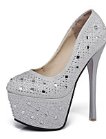 Heels Spring Summer Fall Winter Club Shoes Synthetic Office & Career Party & Evening Dress Stiletto Heel Rhinestone Black Silver
