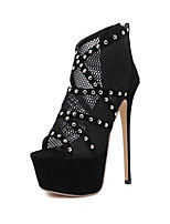 Heels Spring Summer Fall Comfort Fabric Tulle Party & Evening Dress Stiletto Heel Rhinestone Black
