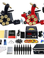 Complete Tattoo Kit 2 Pro Machine Power Supply Foot Pedal Needles Carry Case TK253