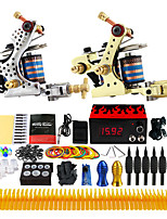 Complete Tattoo Kit 2 Pro Machine Power Supply Foot Pedal Needles Grips TK228