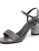 Черный СерыйДля офиса Для праздника Повседневный-Кашемир-На толстом каблуке-клуб Обувь-Сандалии