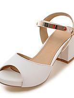 Women's Sandals Spring Summer Fall PU Office & Career Dress Party & Evening Chunky Heel Block Heel White Black Blushing Pink
