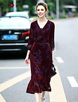 Women's Going out Cute Sheath Dress,Solid V Neck Midi ¾ Sleeve Polyester Spring Summer Mid Rise Inelastic Medium