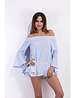 Women's Going out Casual/Daily Holiday Sexy Simple Cute All Seasons Summer Shirt,Geometric Boat Neck ¾ Sleeve Rayon Thin