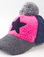 Women Autumn And Winter Fashion Five - pointed Star Pattern Splicing Color Baseball Wool Hat