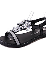 Sandals Spring Summer Fall Comfort PU Dress Casual Flat Heel Imitation Pearl Black Silver