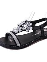 Sandalen-Kleid Lässig-PU-Flacher Absatz-Komfort-Schwarz Silber