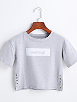 Women's Casual/Daily Simple Spring Summer T-shirt,Print Round Neck Short Sleeve Cotton