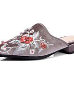 Черный Серый-Для женщин-Для офиса Для праздника Повседневный-Шёлк-На низком каблуке На толстом каблуке Блочная пятка-клуб Обувь-Сандалии