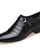 Men's Oxfords Spring Summer Fall Winter Microfibre Office & Career Casual Low Heel Split Joint Black Walking