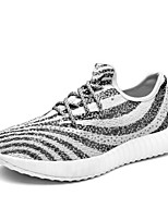 Men's Sneakers Yeezy Shoes Spring Summer Light Soles Fabric Athletic Flat Heel Lace-up Zebra Black Running Shoes