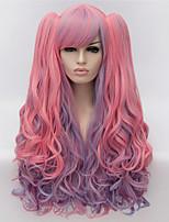 perruques de cosplay rose couleur perruque de bande dessinée europe et amérique mode des points partiels met en évidence la double prêle