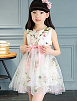 Girl's Floral Patchwork Dress,Polyester Summer Sleeveless