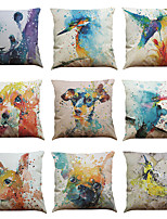 Set of 9 Watercolor birds and dogs pattern Linen Pillowcase Sofa Home Decor Cushion Cover