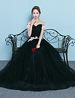 Formal Evening Dress A-line Off-the-shoulder Floor-length Tulle with Appliques Ruching