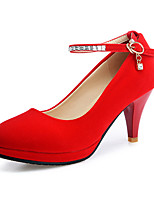 Heels Spring Summer Fall Winter Club Shoes Fleece Office & Career Dress Casual Stiletto Heel Rhinestone Buckle Black Red