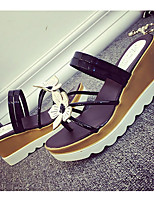 Sandals Summer Comfort Patent Leather Casual Wedge Heel Bowknot Black Silver Gold Walking