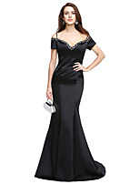 Formal Evening Dress - Beautiful Back Trumpet / Mermaid Off-the-shoulder Sweep / Brush Train Satin with Beading