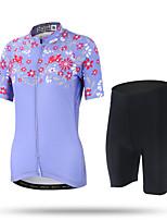 XINTOWN Maillot de Ciclismo con Shorts Mujer Mangas cortas BicicletaTranspirable Secado rápido Resistente a los UV Permeabilidad a la
