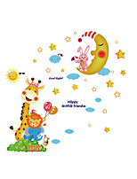 Wall Stickers Wall Decals Style Cartoon Giraffe Moon Rabbit PVC Wall Stickers
