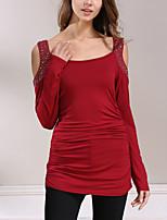 Damen Patchwork Einfach Street Schick Lässig/Alltäglich Ausgehen T-shirt,Rundhalsausschnitt Frühling Herbst Langarm Polyester Mittel