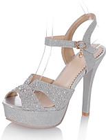 Серебристый ЗолотистыйСвадьба Для праздника Для вечеринки / ужина-Дерматин Материал на заказ клиента-На шпильке-клуб Обувь Туфли д'Орсе-