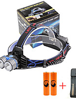 U'King® ZQ-X838B#3-US 2*CREE XML-T6 4000LM LED 3Modes Headlamp Bicycle Lamp Kit Emergency Charging for your Mobile Devices