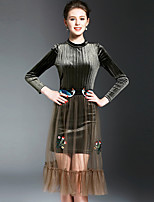 OYCP Women's Velvet Casual/Daily Simple Spring Summer Shirt Skirt SuitsSolid Stand Long Sleeve Polyester