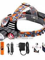 U'King® ZQ-X814R#1-US Three Head 1*T6/2*XPE 5000LM Zoomable Multifunction 4Modes Headlamp Bike Light Kits with Safety Rear LED