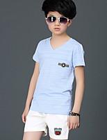 Мальчики Наборы На каждый день Хлопок Искусственный шёлк Однотонный Лето С короткими рукавами Набор одежды
